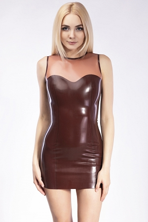 Latex Mini dress with translucent top
