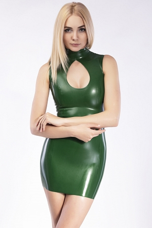 Keyhole cutout sexy latex mini dress with back zipper